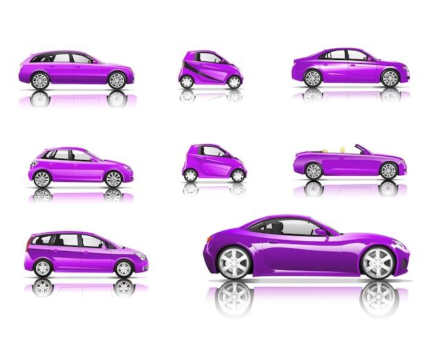 Trójwymiarowy obraz purpurowy samochód na białym tle
