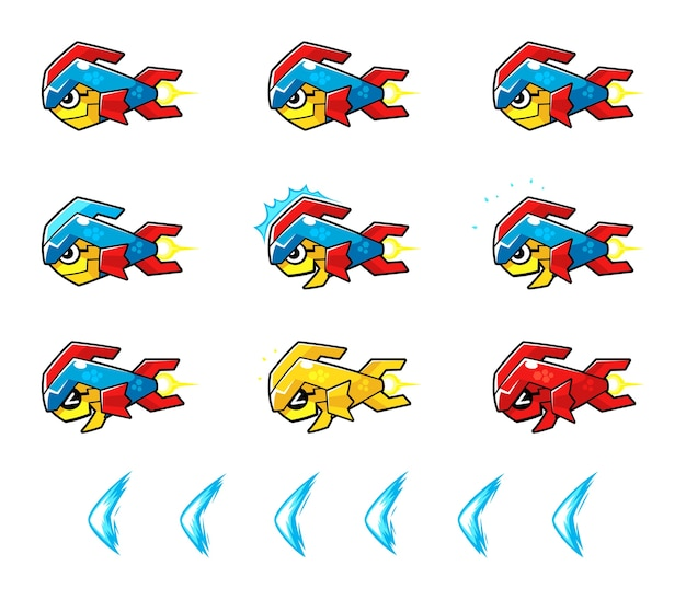 Trooper fish robot enemy game sprites