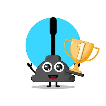 Trophy Wc Próżniowa Urocza Maskotka Postaci Premium Wektorów