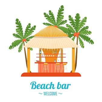 Tropical beach bar na białym tle