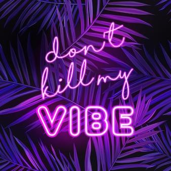 Tropical beach party banner z neonowym napisem. hot summer night club szyld plakat z liści palmowych. disco plakat podświetlany znak. ilustracja wektorowa