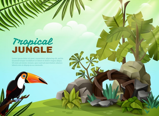 Tropical jungle toucan garden composition poster