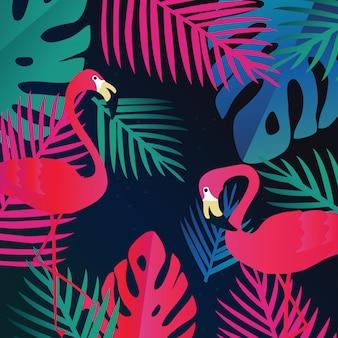 Tropikalna dżungla pozostawia tło z flamingami, egzotyczny druk lato sztuki