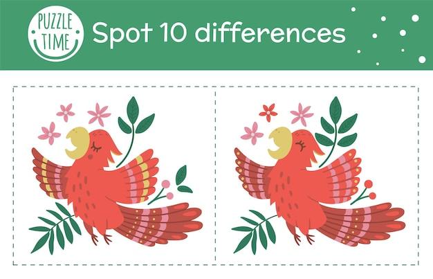 Tropikalna gra o szukaniu różnic dla dzieci. letnia aktywność przedszkola tropikalnego ze śpiewającą papugą. puzzle z uroczymi zabawnymi uśmiechniętymi postaciami.