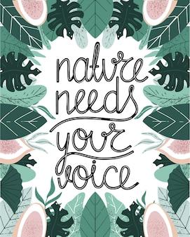 Tropikalna grafika wektorowa handdrawn natura potrzebuje twojego napisu głosowego tropikalne zielone liście z owocami