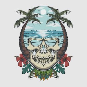Tropikalna ilustracja czaszki plaży