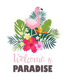 Tropikalna karta z liśćmi palmowymi i egzotycznymi kwiatami. projekt letniej dżungli jest idealny do ulotek, pocztówek, etykiet i niepowtarzalnych projektów. wektor