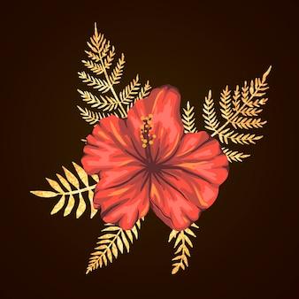 Tropikalna kompozycja kwiatów hibiskusa ze złotymi teksturowanymi liśćmi. jasne realistyczne elementy egzotycznego stylu akwarela.