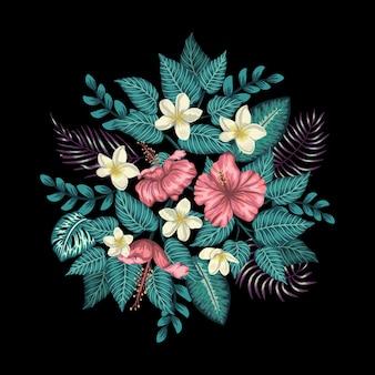 Tropikalna kompozycja różowego hibiskusa