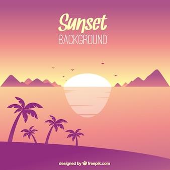 Tropikalna krajobraz z zachodem słońca