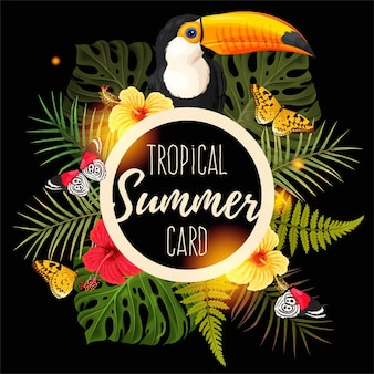 Tropikalna letnia karta wektorowa z tukanem i kwiatem