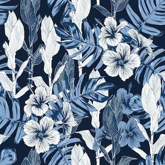 Tropikalna natura bez szwu deseń z ręcznie rysować kwiatów i liści