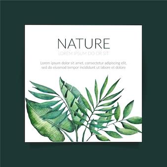Tropikalna natura z egzotycznymi liśćmi kwadratowych ulotki