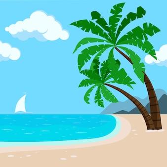 Tropikalna plaża hawaje tło z palmami, morze, żaglówka. nadmorski widok podróży transparent. wektor ilustracja egzotyczny pejzaż morski w stylu płaskiej kreskówki. letnia rajska wyspa piaszczysta plaża transparent.
