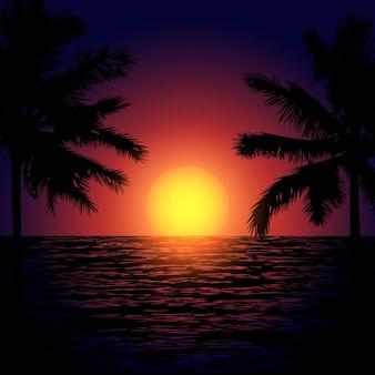 Tropikalna plaża z palmami i zachodem słońca w morzu egzotyczna noc na plakat na tekstyliach
