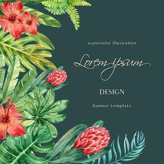 Tropikalna rama granicy lato z roślin liści egzotycznych, kreatywnych akwarela