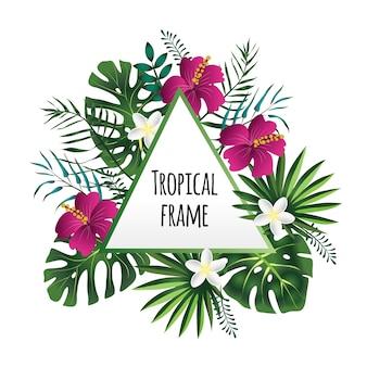 Tropikalna rama, szablon z miejscem na tekst. ilustracja na białym tle.