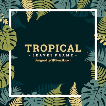 Tropikalna rama z liści w stylu płaski