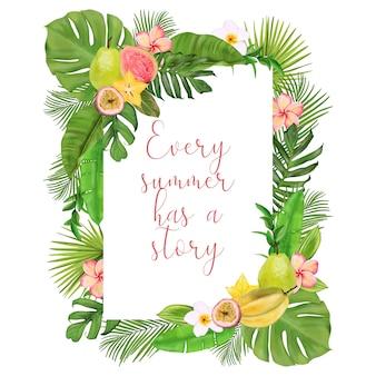 Tropikalna ramka z egzotycznych owoców, kwiatów, liści