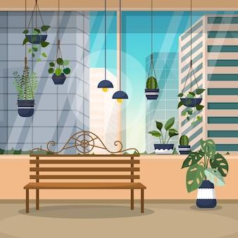 Tropikalna roślina doniczkowa zielona roślina ozdobna ilustracja dom okno