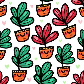 Tropikalna roślina w doodle stylu bezszwowym wzorze