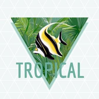 Tropikalna ryba lato projekt tło, t-shirt moda egzotyczna grafika.