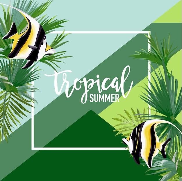 Tropikalna ryba lato transparent, tło graficzne, egzotyczne zaproszenie kwiatowy, ulotki lub karty. nowoczesna strona frontowa