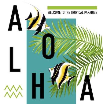 Tropikalna ryba lato transparent, tło graficzne, egzotyczne zaproszenie, ulotki lub karty. nowoczesna strona frontowa