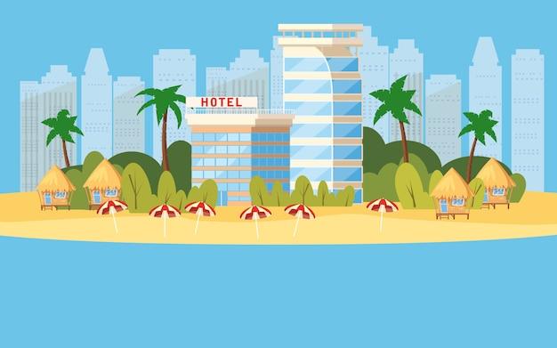 Tropikalna wyspa, hotele w wakacyjnej ilustraci