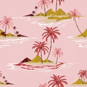 Tropikalna wyspa ręka rysunek styl słodki nastrój vintage seamless pattern vector