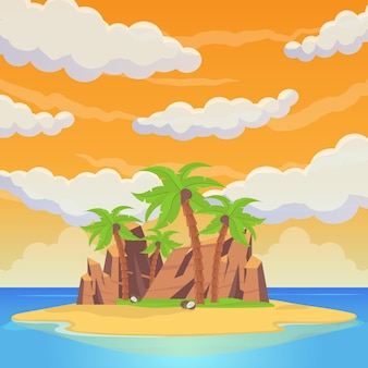 Tropikalna wyspa wśród morza. palmy, piaszczyste plaże, skały, posągi, namioty i domy rytualne. morze plaża piękny krajobraz. ilustracja wektorowa