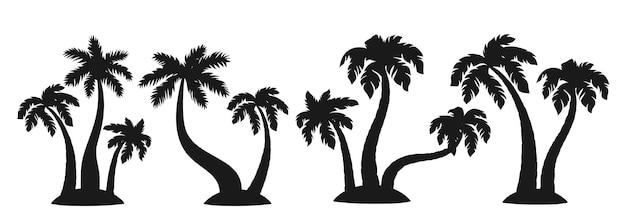 Tropikalna wyspa z palmą, zestaw czarnych sylwetek drzew