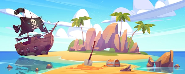 Tropikalna wyspa ze skrzynią skarbów i zepsutym statkiem pirackim kreskówka morski krajobraz z żaglówką po wraku statku z czaszką na czarnych żaglach palmy i złote monety na bezludnej wyspie