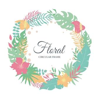 Tropikalne egzotyczne liście tło, śliczne liście i kompozycja kwiatowa z okrągłym