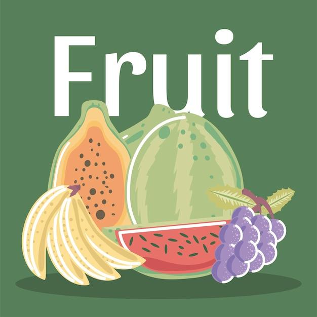 Tropikalne egzotyczne świeże owoce, takie jak kiwi, brzoskwinia, melon ilustracja