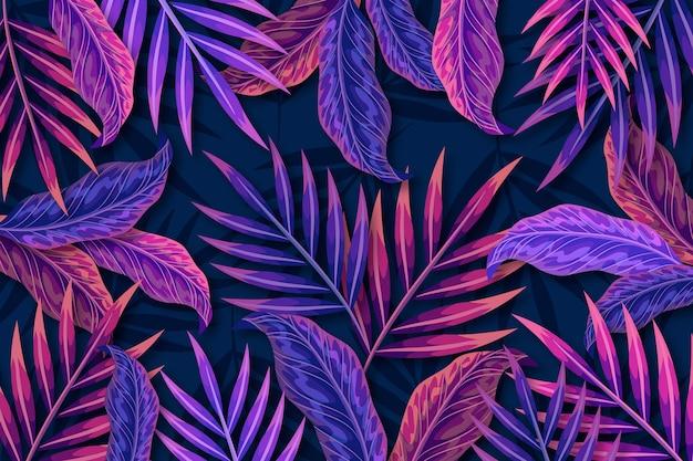 Tropikalne fioletowe liście w tle