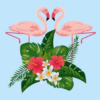 Tropikalne flamingi z egzotycznymi kwiatami i liśćmi