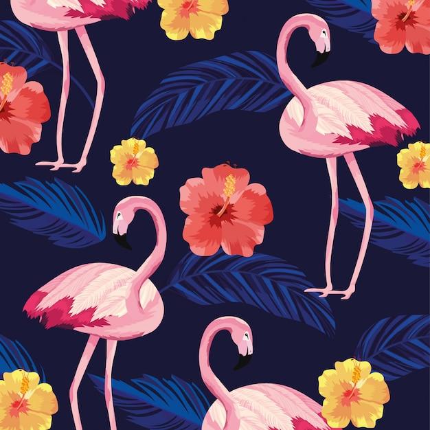Tropikalne flamingi zwierząt z tłem kwiatów i liści