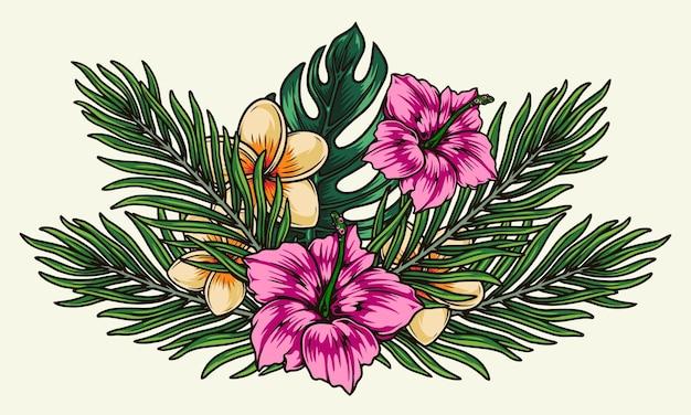 Tropikalne kolorowe kwiaty w stylu vintage na białym tle
