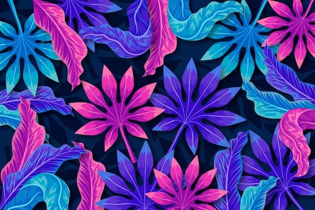 Tropikalne kolorowe liście w tle