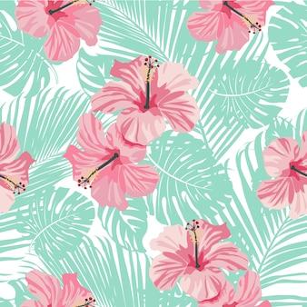Tropikalne koralowe kwiaty i liście