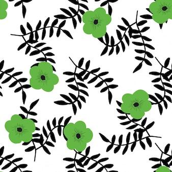 Tropikalne kwiaty i czarne liście wzór.