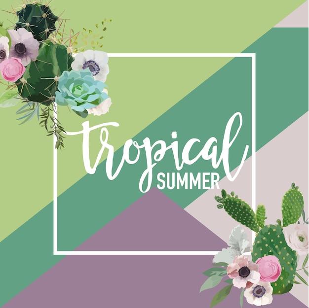Tropikalne kwiaty i kaktus lato transparent, tło graficzne, egzotyczne zaproszenie kwiatowy, ulotki lub karty. nowoczesna strona frontowa
