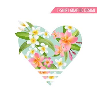 Tropikalne kwiaty i liście graficzne