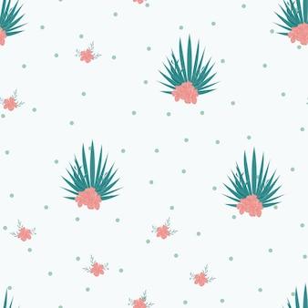 Tropikalne kwiaty i liście roślin dżungli wektor wzór