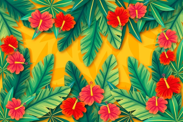 Tropikalne kwiaty i liście tło dla powiększenia