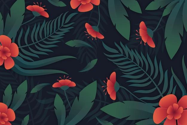 Tropikalne kwiaty i liście tło