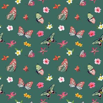 Tropikalne kwiaty i motyle wzór