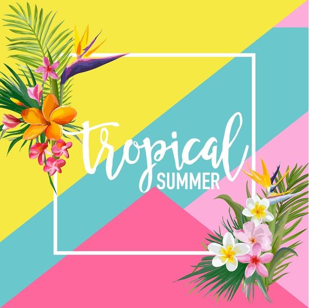 Tropikalne kwiaty i palmy lato transparent, tło graficzne, egzotyczne zaproszenie kwiatowy, ulotki lub karty. nowoczesna strona frontowa