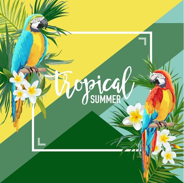 Tropikalne kwiaty i papuga lato transparent, tło graficzne, egzotyczne zaproszenie kwiatowy, ulotki lub karty. nowoczesna strona frontowa